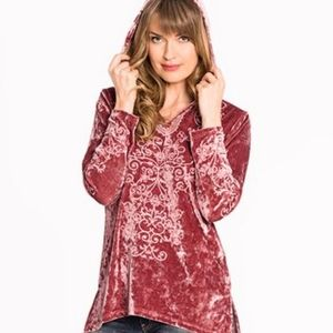 NWT Paparazzi Embroidered Crushed Velvet Hoodie XL
